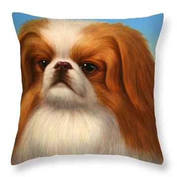 Pekingese Throw Pillow by James W Johnson