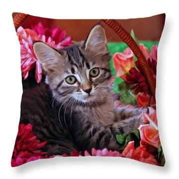 Pele In The Flowers Throw Pillow by Kenny Francis