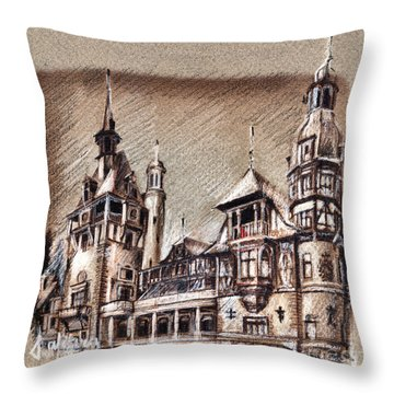 Peles Castle Romania Drawing Throw Pillow
