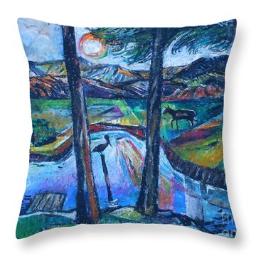 Pelican And Moose In Landscape Throw Pillow by Stan Esson