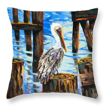 Pelican And Pilings Throw Pillow