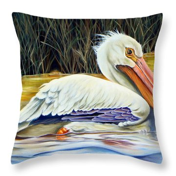 Throw Pillow featuring the painting Pelican At East Pearl by Phyllis Beiser