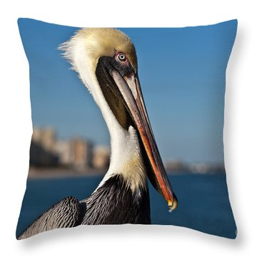 Throw Pillow featuring the photograph Pelican by Barbara McMahon