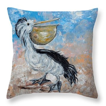 Throw Pillow featuring the painting Pelican Beach Walk - Impressionist by Eloise Schneider