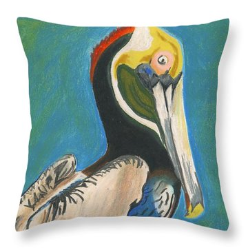 Pelican Blue Throw Pillow