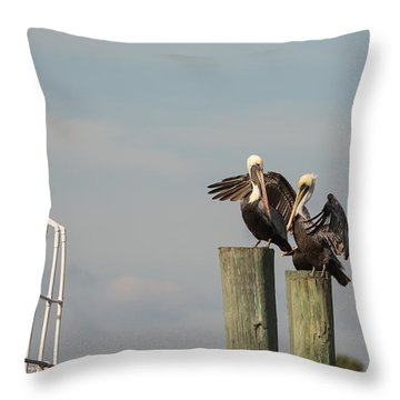 Throw Pillow featuring the photograph Pelican Buddies by John M Bailey