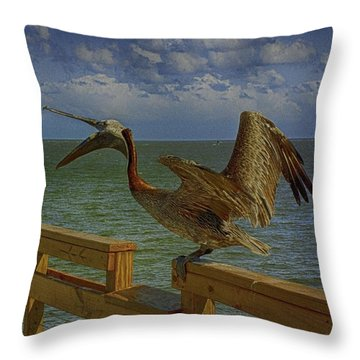 Pelican Eating Throw Pillow by J Riley Johnson