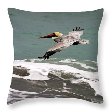 Pelican Flying Throw Pillow