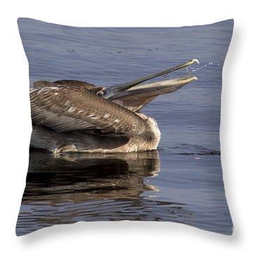 Pelican Fountain  Throw Pillow by Meg Rousher