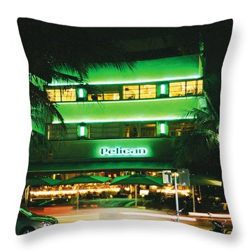 Throw Pillow featuring the photograph Pelican Hotel Film Image by Gary Dean Mercer Clark