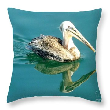 Throw Pillow featuring the photograph Pelican In San Francisco Bay by Clare Bevan