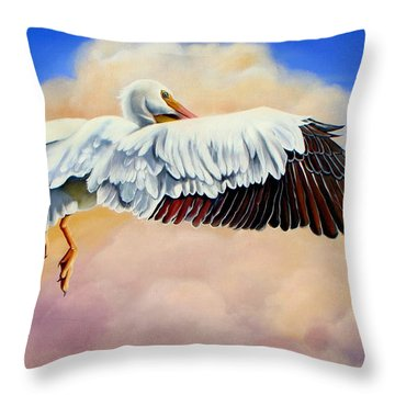 Throw Pillow featuring the painting Pelican In The Clouds by Phyllis Beiser