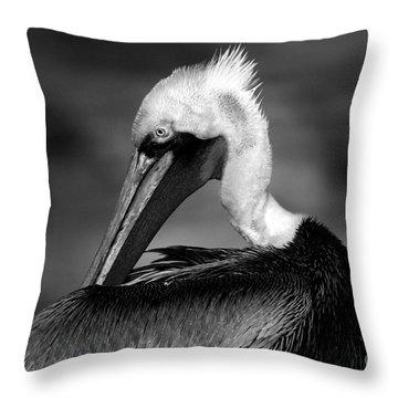 Pelican In Waves Throw Pillow