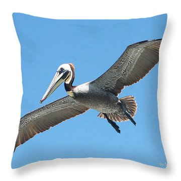 Pelican Landing On  Pier Throw Pillow by Tom Janca