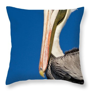 Throw Pillow featuring the photograph Pelican by Les Palenik