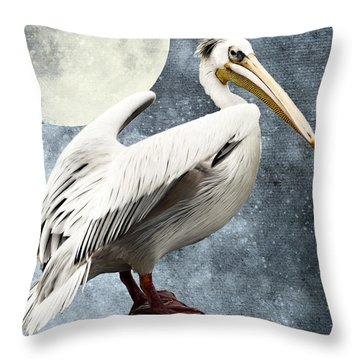 Pelican Night Throw Pillow by Angela Doelling AD DESIGN Photo and PhotoArt