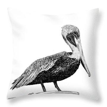 Monterey Pelican Throw Pillow