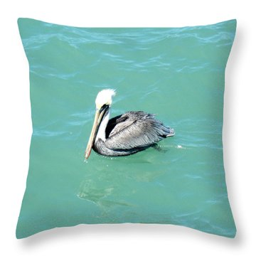 Throw Pillow featuring the photograph Pelican by Oksana Semenchenko