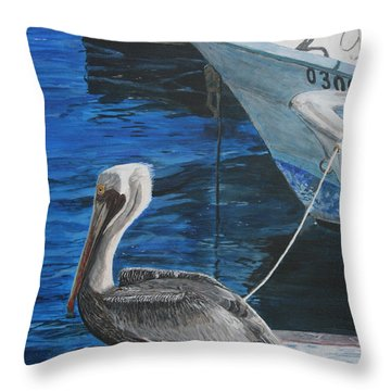 Pelican On A Boat Throw Pillow
