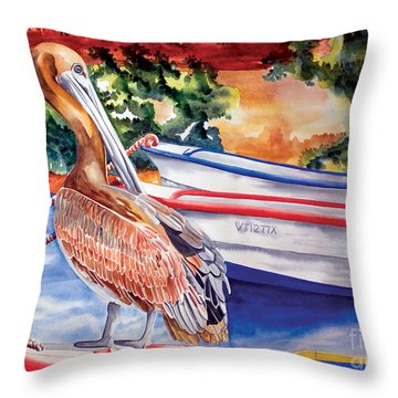Pelican On A Ponga Throw Pillow
