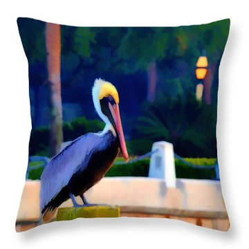Pelican On Post Artistic Throw Pillow by Dan Friend