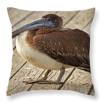 Pelican On The Dock II Throw Pillow