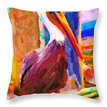Pelican On The Dock Throw Pillow
