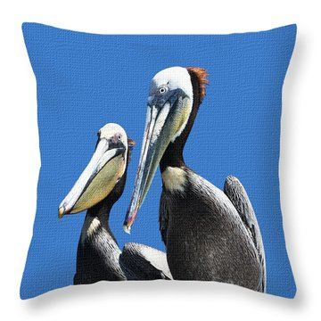 Pelican Pair Throw Pillow by Tom Janca