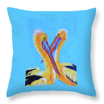 Pelican Pals Throw Pillow