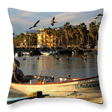 Throw Pillow featuring the photograph Pelican Panga by Kandy Hurley