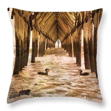 Pelican Paradise Throw Pillow by Betsy Knapp
