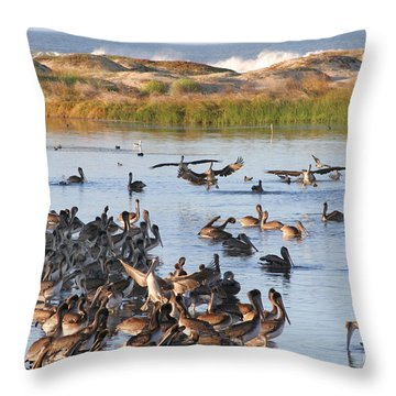 Throw Pillow featuring the photograph Pelican Party by Bob and Jan Shriner