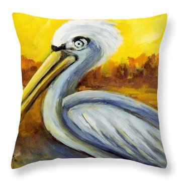 Pelican Pete Throw Pillow