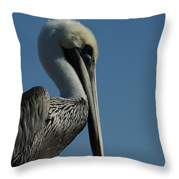 Pelican Profile 2 Throw Pillow by Ernie Echols