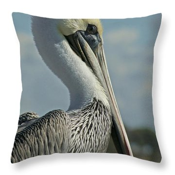 Pelican Profile 3 Throw Pillow by Ernie Echols