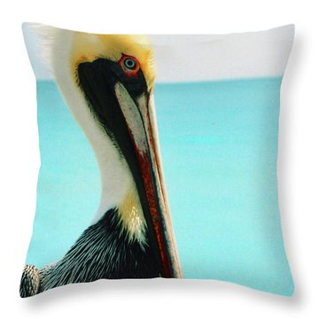 Pelican Profile And Water Throw Pillow by Heather Kirk