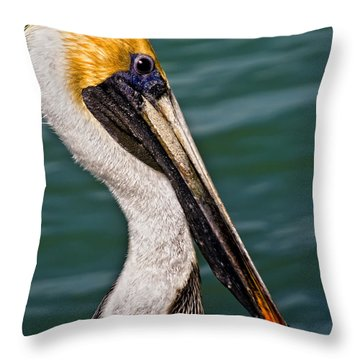 Pelican Profile No.40 Throw Pillow by Mark Myhaver