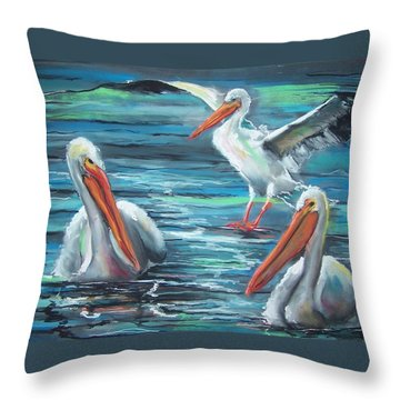 Throw Pillow featuring the pastel Pelican Profile by Peter Suhocke