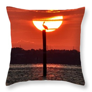 Pelican Silhouette Sunrise On Sound Throw Pillow by Jeff at JSJ Photography