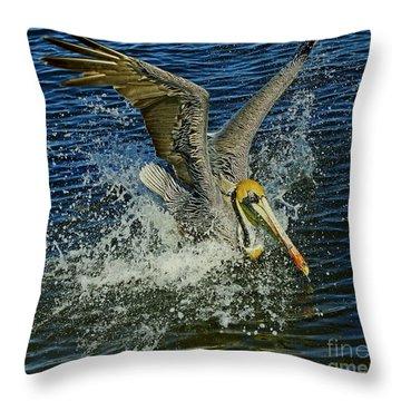 Pelican Splash Throw Pillow by Larry Nieland