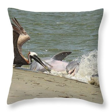 Pelican Steals The Fish Throw Pillow