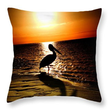 Pelican Sunrise Throw Pillow by Yew Kwang