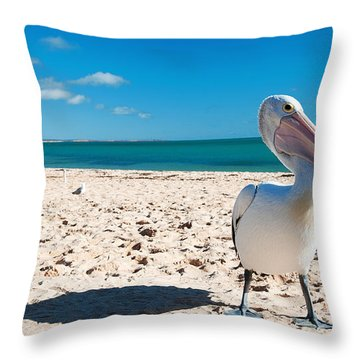 Pelican Under Blue Sky Throw Pillow