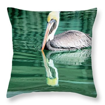 Pelican Wake Throw Pillow by Pamela Blizzard
