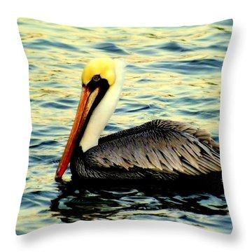 Pelican Waters Throw Pillow by Karen Wiles