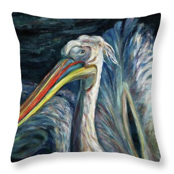 Throw Pillow featuring the painting Pelican by Xueling Zou