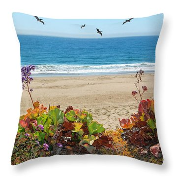 Pelicans And Flowers On Pismo Beach Throw Pillow by Debra Thompson