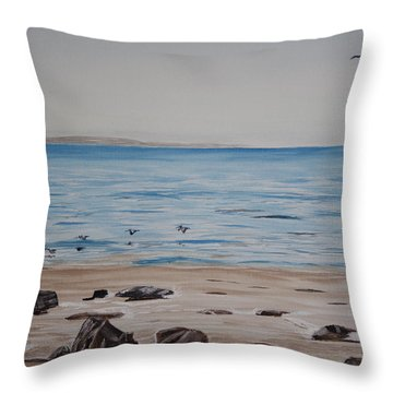 Throw Pillow featuring the painting Pelicans At El Capitan by Ian Donley
