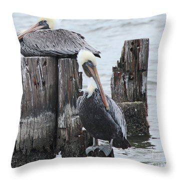 Pelicans Enjoying Lake Ponchartrain Throw Pillow