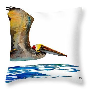 Da137 Pelican Over Water By Daniel Adams Throw Pillow